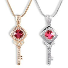 18K white/yellow Gold filled hot chic Ruby key shape necklace pendant