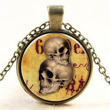 Vintage Style Double Skull Photo Glass Dome Art Pendant Necklace Halloween Gift