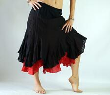 2 LAYER SKIRT - Zootzu Pirate Gypsy Medieval Costume Wench Renaissance BLACK RED