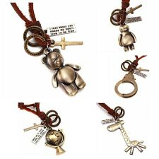 1pc Vintage Bronze Rings Cross Charms Alloy Pendant Leather Cords VTG Necklace D