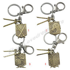Attack on Titan Affiliation Corps Badge & Blades Cosplay Metal Key Ring Chain