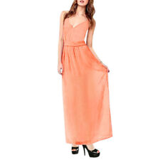 Woman Deep V Neck Spaghetti Straps Backless Chiffon Maxi Dress