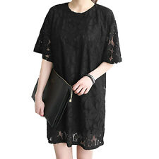 Women Round Neck Short Dolman Sleeves Loose Fit Lace Straight Dress