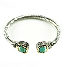 Silver Two-Tone Twisted Cable Rope Open End Womens Bangle Bracelet