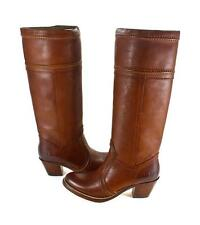 FRYE JANE WOMENS FULL GRAIN TALL LEATHER BOOTS REDWOOD 7 8 9.5 PULL ON WIDE CALF