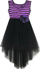 Girls Dress Hi-Lo Maxi Sleeveless Striped Lace Purple Black Size 7-14