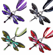 Attractive Woman Rhinestone Inlay Enamel Dragonfly Charms Pendant Necklace Gift