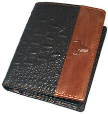 Men's Cowhide Leather Wallet ID Photo Holders Zippered Pocket Crocodile Style