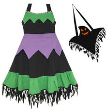 Girls Dress Halloween Witch Costume Ghost Bag Black Green Size 5-12