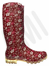 LADIES FUNKY RED & WHITE FLOWERS RAIN FESTIVAL WELLIES SIZES 3 4 5 6 6.5 7 P350