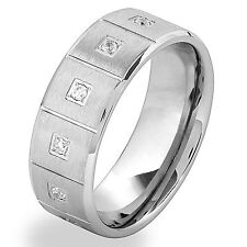 Men's Stainless Steel Cubic Zirconia and Square Textured Band Ring