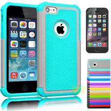 Film + Armor Impact Bumper Defender Rubber Hard Case Cover For Apple iPhone 5C