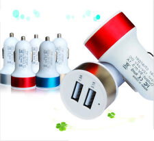 Universal Car Charger Adaptor Bullet Dual USB 2-Port 2.1A/1.0 for Samsung iPhone