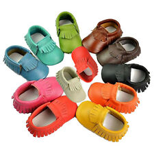 Baby Tassel Soft Sole True Leather Shoes Boy Girl Toddler Moccasin 0-24 Months