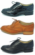 Womens Ladies Leather Look Flat Brogues Shoes Black Patent Tan Size 3 4 5 6 7 8