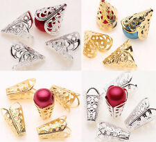 New 25/50PCS Gold Silver Hollow Cone Filigree Flower Bead End Cap Charm Finding