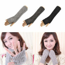 Women Lady Winter Wrist Arm Hand Warmer Knitted Long Fingerless Gloves Mittens