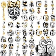European gold plated silver charms pendant bead For Bracelet Chain CA-A