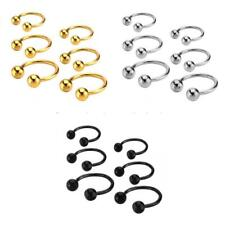 Stainless Steel Ball Horseshoe Bar Nose Ear Ring Body Piercing Gold Silver Black
