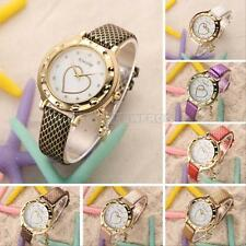 Crystal Love Heart Dial Leather Band Women Girl Quartz Wrist Watch Round Gift
