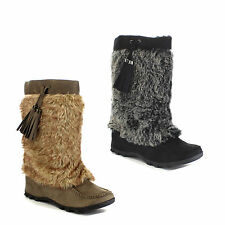 SODA SKI Women's Moccasin Soft Faux Fur Lace Up Mid Calf Casual Boots