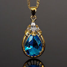 Lady Fashion Jewelry 1 Pear Cut Fine Clear Topaz  Gold Tone Pendant Necklace