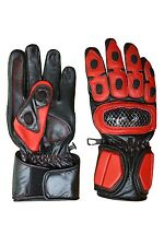 Men's Red Black Leather Racing Motorcycle Gloves Hard Knuckles Protector #1018