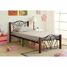 Black and Cherry Headboard and Footboard Bed Frame