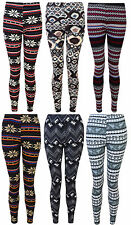 LADIES LEGGINGS KNITTED PATTERNED WARM STRETCH ONE SIZE WOMENS 8-14 BNWT