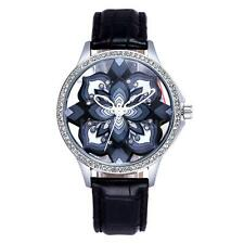 Womens Flower Leather Strap Watch Crystal Diamond Quartz Lady Girl Nice Gift