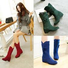 2015 New Ladies Womens Faux Suede Wedge Mid Heel Mid Calf Boots Shoes UK Size