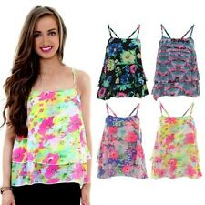 Ladies Frill Chiffon Crop Layered Strappy Floral Print Women's Vest Cami Top