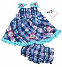 Youngland Baby Girls Blue and Purple Plaid Dress and Diaper Cover 2-Piece Set