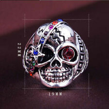 Vintage Retro Crystal Rhinestone Skull Head Punk Boho Women Men Finger Ring
