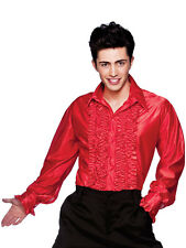 Mens Red Disco Saturday Night Party Ruffle Shirt Fever Fancy Dress Costume 1970s