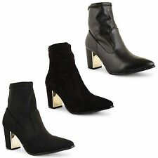 Ladies Womens High Block Heel Pointed Chelsea Ankle Biker Black Boots Shoes Size
