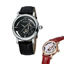 Women Men Fashion Music Note Mechanical Wristwatch Leather Strap Watch Gift GG5J