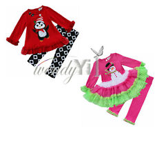 Baby Girls Toddler Christmas Top Tutu Dress Pants Legging Outfit Clothes 2Pc Set