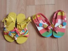 NWT GIRLS GYMBOREE SANDALS, FLIP FLOPS HAPPY RAINBOW SZ 7-8 YELLOW