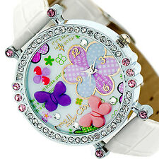 Womens Girl Dedicated Noble Polymer Clay Crystal Leather Quartz Dial Wrist Watch