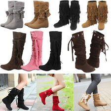 Womens Ladies Faux Suede Tassels Winter Warm  Mid Calf Boots Flat Shoes 5 Colors