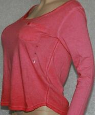 NWT Abercrombie & Fitch Mia Tee Red faded wash shirt Long Sleeve top