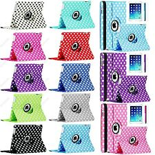 For iPad 4 3 2 360 Rotating Cute Polka Dot Leather Case Smart Cover w/ Stand
