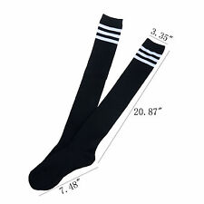 Tight Sexy Womens Thigh High Striped Cotton Socks Over Knee Stockings Black