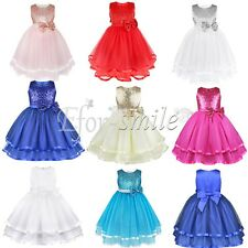 Baby Kid Lace Bowknot Sequins Tutu Dress Flower Girl Princess Party Tulle Dress