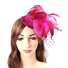 Hair Clip Feather Fascinator Mini Top Hat Mesh Lace millinery Rose Women Fashion