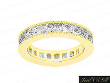 3.75Ct Princess Diamond Channel Set Milgrain Eternity Band Ring 18K Gold G SI1