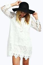 Boohoo Womens Maddie Flower Lace Long Sleeve Smock Dress