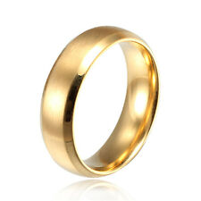 High quality Gold Titanium Men's Women's 316L Stainless Steel Ring Size 6-12