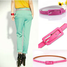 Hot Sexy Ajustable Women's Candy Colors Thin Skinny Waistband PU Leather Belts